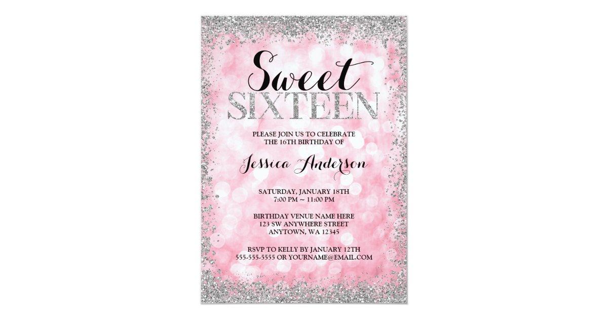 Pink Silver Faux Glitter Lights Sweet 16 Birthday Invitation ...