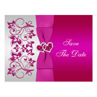 Pink, Silver Floral Save The Date Post Card