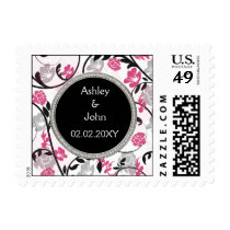 Pink silver floral wedding invitations postage