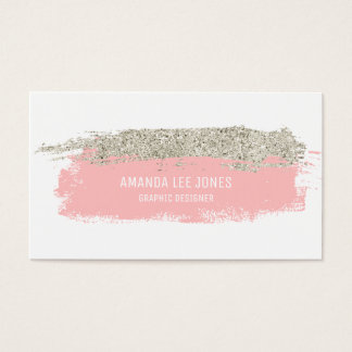 Pink & Silver Glitter Brush Strokes Business Card