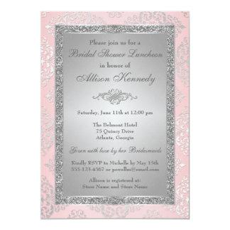 Pink, Silver Glitter Damask Bridal Shower Invite