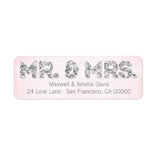 Pink & Silver Glitter Look Mr. & Mrs. Labels