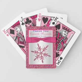 Pink, Silver Glitter LOOK Snowflake Playing Cards