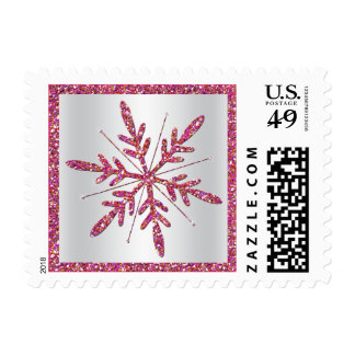 Pink Silver Glitter LOOK Snowflake Postage