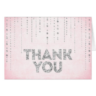 Pink & Silver Glitter Look Thank You Card