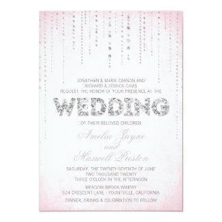 "Pink & Silver Glitter Look Wedding Invitation 5"" X 7"" Invitation Card"