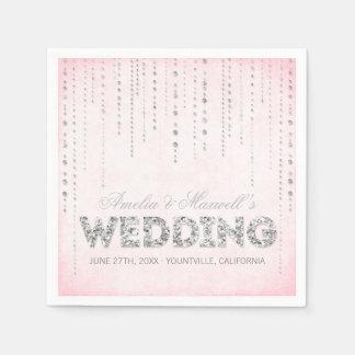 Pink & Silver Glitter Look Wedding Napkins Paper Napkins