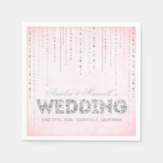 Pink & Silver Glitter Look Wedding Napkins Paper Napkins