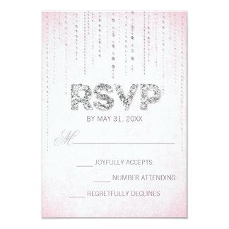 Pink & Silver Glitter Look Wedding RSVP Card Custom Announcement
