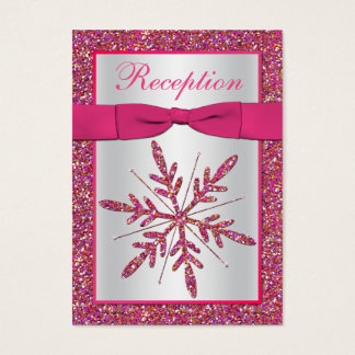 Pink, Silver Glitter Snowflake Enclosure Card