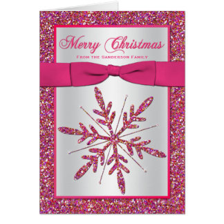 Pink Silver Glitter Snowflake Photo Christmas Card Cards
