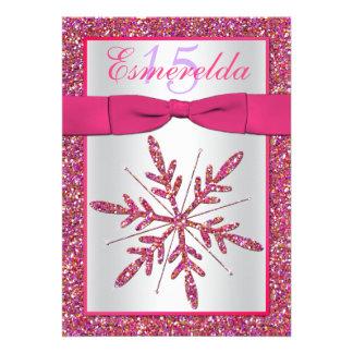 Pink Silver Glitter Snowflake Quinceanera Invite