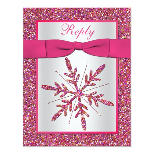 Pink, Silver Glitter Snowflake RSVP Card
