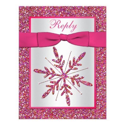 Pink Silver Glitter Snowflake Rsvp Card Personalized