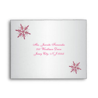 Pink, Silver Glitter Snowflakes A2 for RSVP Card Envelope