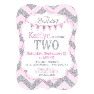 Pink Silver Glitter Sparkle Second Birthday Invite