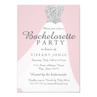 Pink Silver Glitter White Gown Bachelorette Party Card