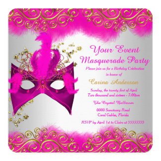 Pink Silver Gold Mask Masquerade Birthday Party Card