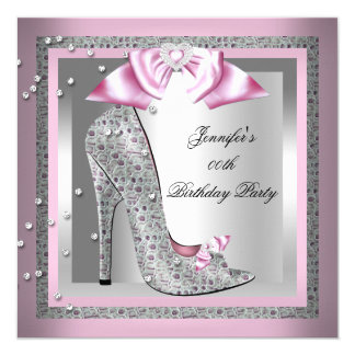 Pink Silver Gray High Heel Shoe Birthday Party Card