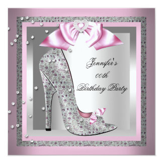 Pink Silver Gray High Heel Shoe Birthday Party 5.25x5.25 Square Paper Invitation Card