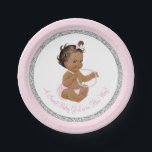 "Pink Silver Gray Pearl Ethnic Girl Baby Shower Paper Plate<br><div class=""desc"">Pink and silver glitter baby shower paper plates with adorable ethnic baby girl wearing pink ruffle pants and string of pearls on a pink and silver glitter background. These cute girl baby shower paper plates can be customized with text in the font style and color of your choice. You can...</div>"