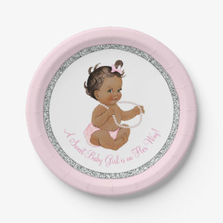 Pink Silver Gray Pearl Ethnic Girl Baby Shower Paper Plate