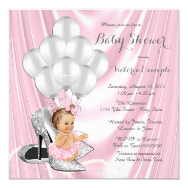 Pink Silver Gray Pearl High Heel Baby Shower Card