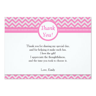 Pink Silver Grey Thank You Card Note