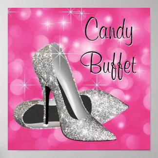 Pink Silver High Heel Shoe Candy Buffet Sign