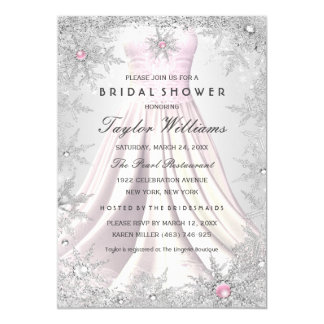 Pink Silver Jewel Snowflake Bridal Shower Dress Card