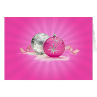 PINK & SILVER ORNAMENTS by SHARON SHARPE Card