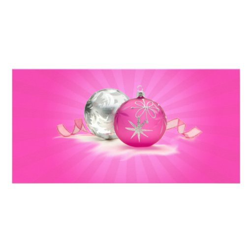 PINK & SILVER ORNAMENTS by SHARON SHARPE Customized Photo Card