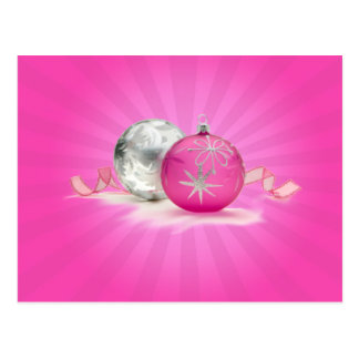 PINK & SILVER ORNAMENTS by SHARON SHARPE Postcard