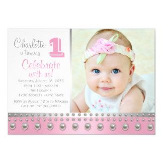 Pink Silver Pearl First Birthday Card