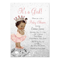 Pink Silver Princess African American Baby Shower Card