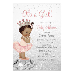 image relating to Free Printable African American Baby Shower Invitations named Crimson Silver Princess African American Kid Shower Invitation
