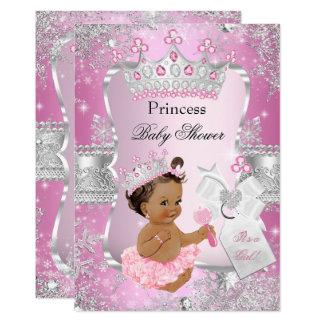 Pink Silver Princess Baby Shower Brunette Girl Card
