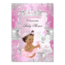 Pink Silver Princess Baby Shower Brunette Girl Card