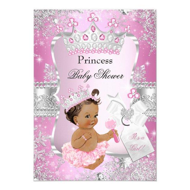 Pink Silver Princess Baby Shower Brunette Girl Card | Zazzle