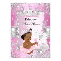 Pink Silver Princess Baby Shower Ethnic Card