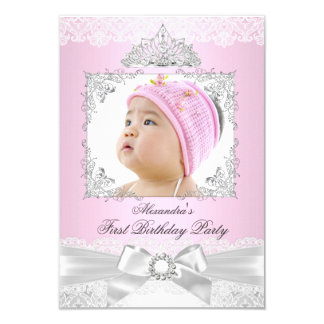 pink & Silver Princess Girl First Birthday Party 3.5x5 Paper Invitation Card