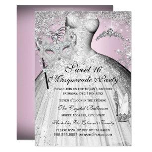 Pink Silver Princess Masquerade Sweet 16 Invite