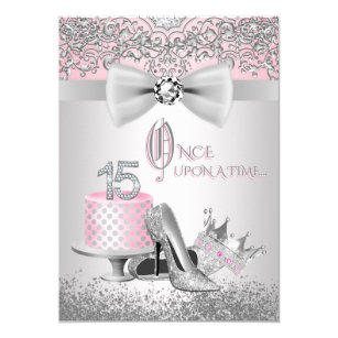 Quinceanera cards greeting photo cards zazzle pink silver quinceanera princess birthday party card bookmarktalkfo Gallery