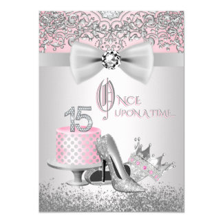 Pink Silver Quinceanera Princess Birthday Party Card