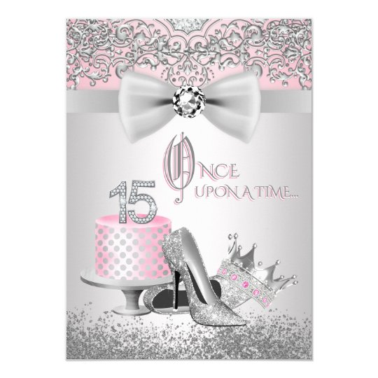 pink silver quinceanera princess birthday party invitation zazzle com