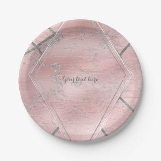 Pink & Silver Satin Sparkle Glam Designer Style Paper Plate