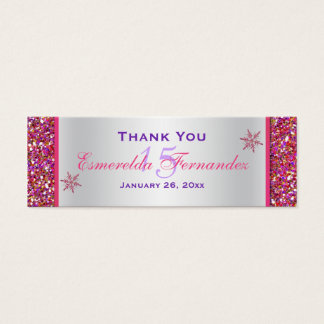 Pink, Silver Snowflakes Quinceanera Favor Tag