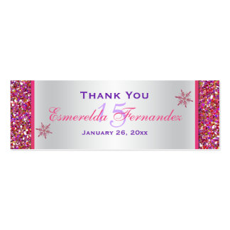 Pink, Silver Snowflakes Quinceanera Favor Tag Double-Sided Mini Business Cards (Pack Of 20)