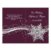 pink Silver Snowflakes wedding programs folded