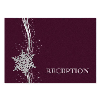 pink Silver Snowflakes wedding reception invite Business Cards